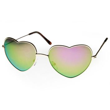Womens Thin Metal Frame Color Mirror Lens Heart Shape Sunglasses