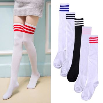 ciciTree Cotton Warm Women Girls Color Classic Striped Socks 3 Line Striped Stockings Ladies Knee High Socks Lacrosse Long Socks