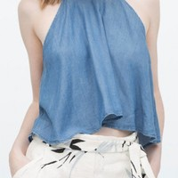 Fabulous Blue Cotton Woman Crop Tank - OASAP.com