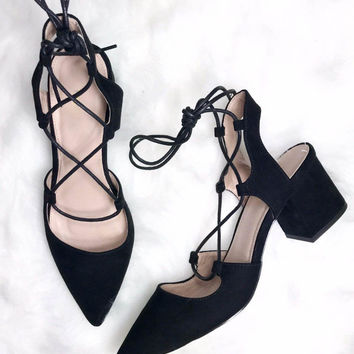 Sicily Black Lace Up Heels