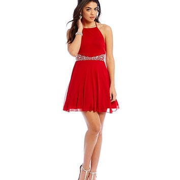 Teeze Me Ity High-Neckline Beaded Waist Dress | Dillards
