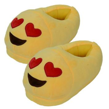 HEART EYES EMOJI- Men And Women Slippers Winter House Slipper