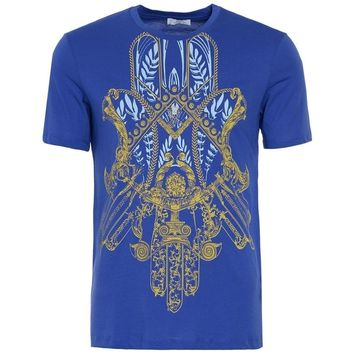VERSACE COLLECTION Gold Medusa Hamsa Graphic Print Blue T Shirt UK XL £115 RRP