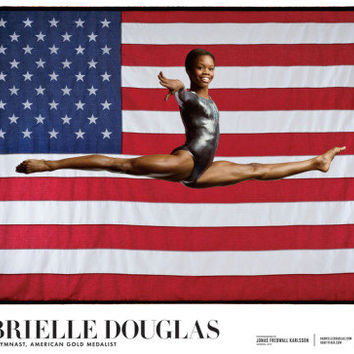 "Gabrielle ""Gabby"" Douglas - Champion, Gymnast, American Gold Medalist Posters by Jonas Karlsson at AllPosters.com"
