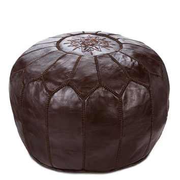 Moroccan Leather Pouf, Chocolate Brown