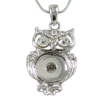 Chunk Snap Pendant Owl and Stainless Steel Necklace 46 cm