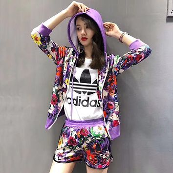 ADIDAS Women Sport Running Gym Vest Shorts Coat Set Three Piece