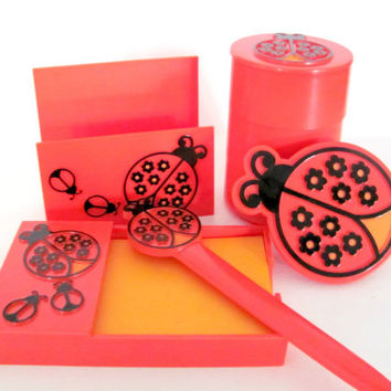 Vintage 1970's Ladybug Desk Set, Mod Orange Bedroom Decor, Teen Collectible
