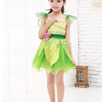 Green Sprite Tinker Bell Fairy Pixie Cute Fancy Dress Up Halloween Child Costume