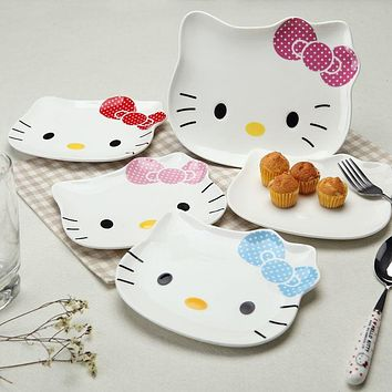 Kawaii Hello Kitty Ceramic Plate Cat face Cartoon Dinnerware Plate Fruit plate Tray plate breakfast tray Dining