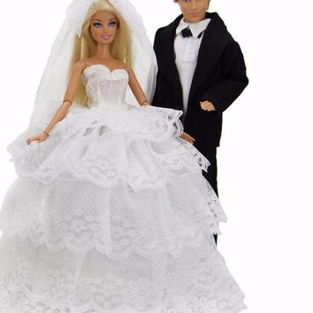 2 Pcs Handmade Wedding Bride Gown With Veil For Barbie Doll And Formal Suit Clothes For Ken Doll Accessories Gift