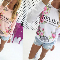 Women's Trending Popular Fashion 2016 Floral Printed Long Long Sleeve T-Shirt _ 9086
