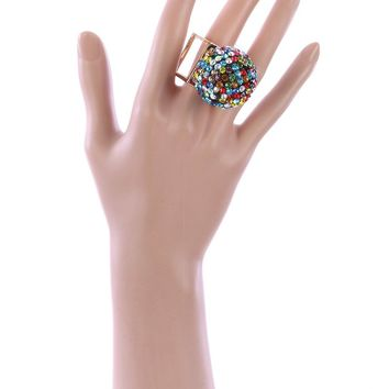 Crystal Stone Disco Ball Ring