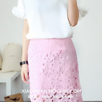 Korean version of sweet wild solid wood ear lace short-sleeved chiffon shirt