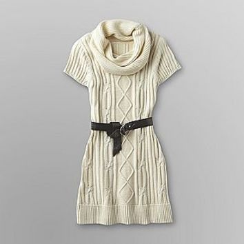 True Freedom- -Junior's Belted Sweater Dress - Cable Knit-Clothing-Juniors-Dresses