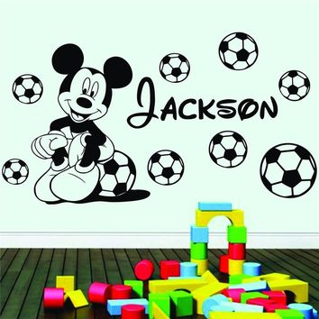 Personalised Boys Name Football Mickey Mouse With Vinyl Wall Sticker Nursery for kids rooms Decor Bedroom Quote Decals D715