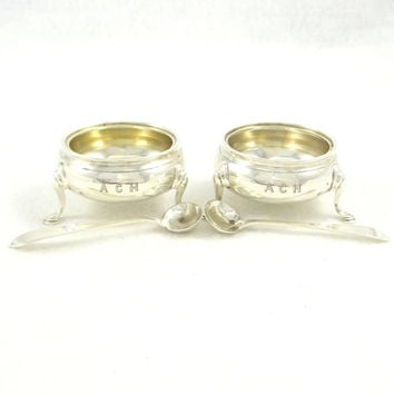 Antique Sterling Silver Salt Cellars and Spoons