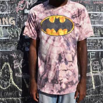 Handmade Bleach Tie Dye T Shirt - BATMAN Tie Dyed TShirt. Discharge Dyed Top. L / XL