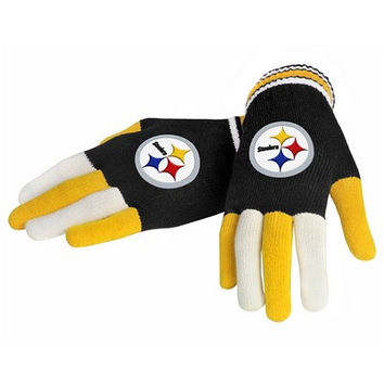 Pittsburgh Steelers Official NFL Multi Color Team Logo Knit Gloves