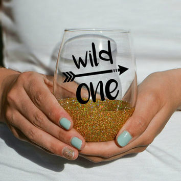 Wild One Glittered Stemless Wine Glass