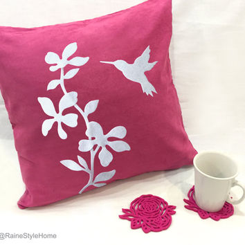 Housewarming Gift Set. Fuchsia Floral Humming Bird Pillow Cover. With 6 Pieces Stencil Hot Pink Rose Felt Coasters Set