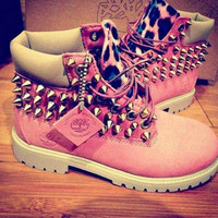 Pink Spiked Timberlands