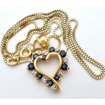 """Sapphire Heart Necklace 18"""" Gold over Sterling Silver"""
