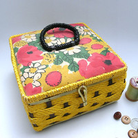 Bright Mod Floral Vintage Sewing Basket by Belding Corticelli Made in Japan