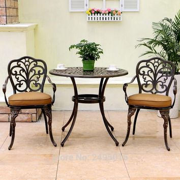 High Quality Patio Furniture modern Design garden chair and table Cast Aluminum Bistro Set in Antique Copper