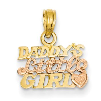 14kt Yellow Gold Two Tone Rose Gold Daddy's Little Girl Girls Pendant