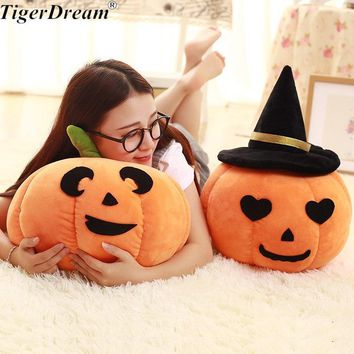 Halloween Soft Pumpkin With Hat Toy Sleeping Pillows PP Cotton Stuffed Cushions Children's Room Decoration Kids Toys