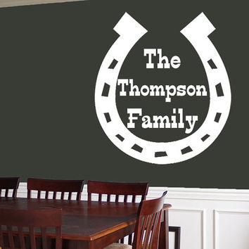 Horseshoe Family Name Wall Decal | Country Western Wall Sticker