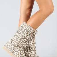 Leopard Round Toe Mid Calf Faux Shearling Boot Camel:Amazon:Shoes