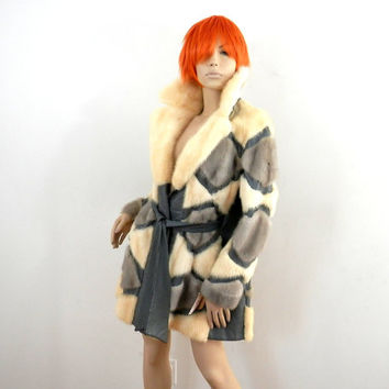 Op Art 70s Mink Fur Patchwork Jacket with Gray Leather Trim
