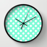 Tiffany Polka Dot Pattern Wall Clock by RexLambo