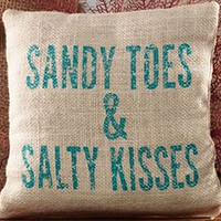 Sandy Toes & Salty Kisses Burlap Accent Pillow - 8-in x 8-in