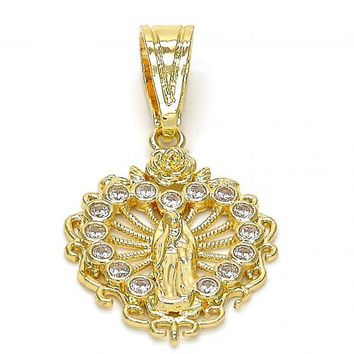 Gold Layered 05.120.0021 Religious Pendant, Guadalupe and Heart Design, with White Cubic Zirconia, Polished Finish, Gold Tone