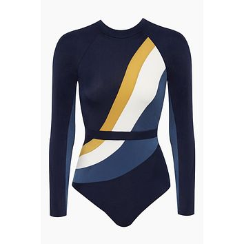 Surf Back Zipper Long Sleeve Rashguard Bodysuit - Navy/Gold