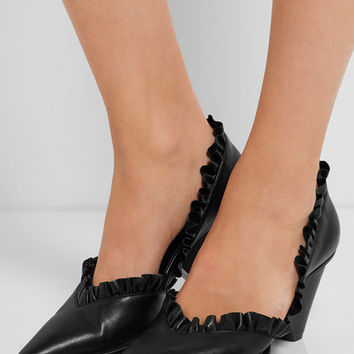 Stella McCartney - D'Orsay ruffled faux leather pumps