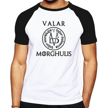 the Game Of Thrones men brand clothing letter logo designed men clothes cotton t shirt Valar Morghulis All Men Must Die T-shirt