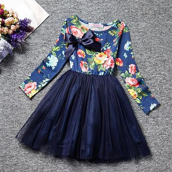 Girl Dress Flower Print Tulle Christmas Kids Party Costume Girl Clothes Child's School Wear