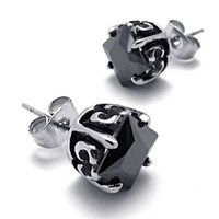 Rose Steel Black Studs — accessoryinlove