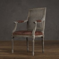 Vintage French Cane Back Square Leather Armchair | Dining Chairs | Restoration Hardware