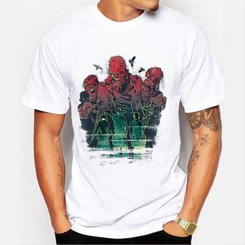 New  men's zombie  printed customized t-shirt short sleeve punk style male cloth hipster cool fashion tops/tee
