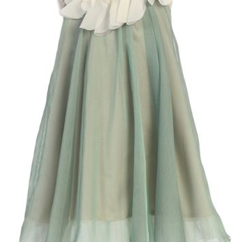 Sage Green & Ivory Chiffon Shift Dress with Petal Trim Girls 2T-14