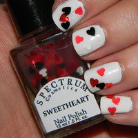 SWEETHEART Nail Polish Glitter Heart Top Coat by SpectrumCosmetic