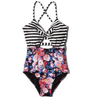 Striped Floral Print One Piece Swimsuit  10245