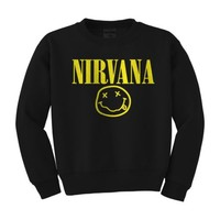 Nirvana Smiley face Sweatshirt Kurt Cobain - Rock Band Concert Sweater