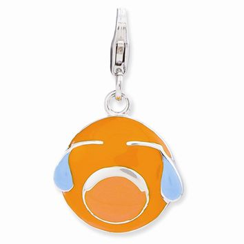 Sterling Silver Enameled 3-D Crying Face w/Lobster Clasp Charm