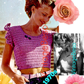 DIGITAL PATTERN • Ladies Top Crochet Pattern • PdF • Short Pullover Top • Vintage 1970s Summer Top • Bust Sizes 34 36